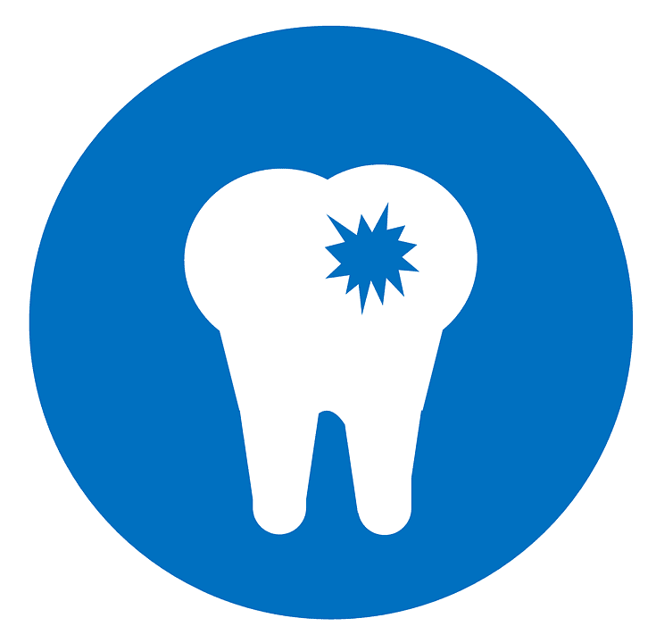 A logo of a tooth with a cavity in its surface.